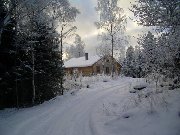 Blockhaus Fuchsbau im winter in schweden winterferien